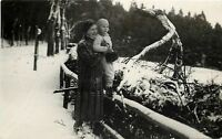 RPPC Mother Holds Skeptical Lass on Snowy Fence Rail~Sprawling Tree Branch~c1930