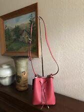 Lauren Ralph Lauren Dryden Mini Leather Drawstring Bag Color-Raspberry