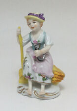 Charming 20th Century Vintage German Sitzendorf Figure Young Girl 18thc Dress