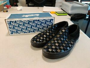 Vans x Barneys Classic Slip-On - Woven Leather - Black/Gray/Navy - US Size 12