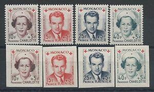 MONACO - N° 334A à 337B - 8 Timbres Neufs** dont 4 Non Dentelés // 1949