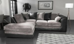 *** BRAND NEW*** Modern Black Grey Fabric Corner Sofa Cheap LEFT & RIGHT 3 AND 2