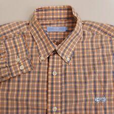 Southern Tiger Button Up Shirt Men's Large Orange Plaid Checks