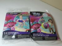 NEW Trolls World Tours Inflatable Bundle: Beach Ball, Arm Floaties Pool