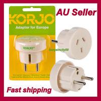 AU NZ to EU AC Power Plug Adapter Travel 2Pin Converter-for AUS Australian KORJO