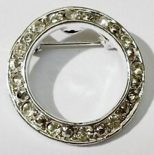 broche couronne cristaux diamant bijou vintage couleur argent * 4086
