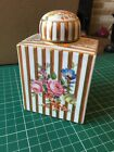 Antique Gilded Dresden Tea Caddy Candy Stripes Hand Painted Floral Decoration