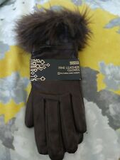 Brand new Marks & spencer brown fine leather water resistant gloves size M-L