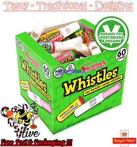 SWIZZELS CANDY WHISTLES Fruit Flavour Party Bag Fillers Retro Sweet - 60 count