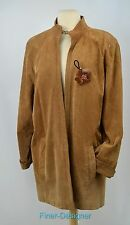 BROWNSTONE STUDIO suede leather Coat Duster Jacket lined open front blazer L VTG