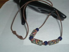VINTAGE MENS OR WOMENS SURFER BOHO BEACH BEAD NECKLACE BROWN LEATHER CORD