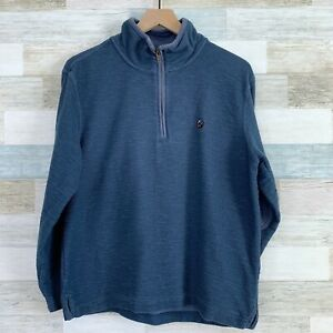 Southern Proper 1/4 Zip Sweatshirt Sweater Blue Elbow Patches Mens Size Small