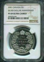 2001 CANADA $1 - 90TH ANNIV STRIKING CANADA'S SILVER - NGC PF69 UC w BOX & COA