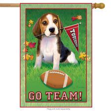 "Go Team Beagle House Flag Dog Football Touchdown Decorative Banner 28"" x 40"""