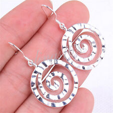 925 Sterling Silver Gracious Swirl Maze Shaped Chic 38x23mm Dangle Earrings H392