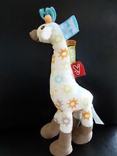 S6- DOUDOU PELUCHE HAPPY HORSE GIRAFE 29cms blanc marron soleil orange bleu vert