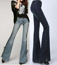 Fashion Womens Denim Bootcut Jeans Flare Bell Bottom Wide Leg Pants Boho Trouser