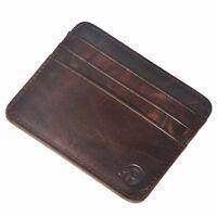 Flaches Scheckkartenetui / Brieftasche / Kreditkartenetui aus echtem Rindsleder