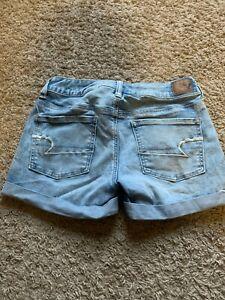 """American Eagle Women's Midi Jean Shorts Size 4 Inseam 3.5"""" Blue (b)"""
