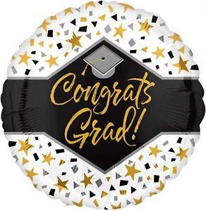 """Congrats Grad Stars Confetti Graduation 18"""" Foil Balloon, Black Silver Gold"""
