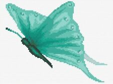 "Aqua Butterfly - Mini/Starter Cross Stitch Kit 6"" x 8"" - 14 Count Aida, Anchor"