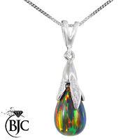 BJC® 9ct White Gold Black Opal & Diamond Briolette Drop Pendant / Necklace