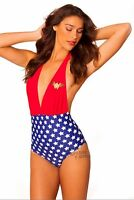 Wonder Woman Symbol Halter Deep Plunge Monokini Swimsuit DC Comics Licensed S-XL