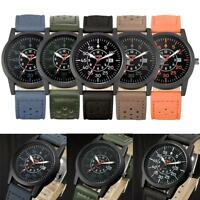 Waterproof Men Army Date Watch Stainless Steel Leather Belt Quartz Watches
