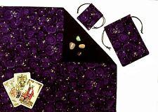 "Purple Stars Lined Tarot Cloth & Bag 3-piece 18""x20"" Divination Gift Set"