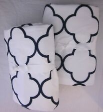 Set/2 Pottery Barn Teen  Lucky Clover Blackout Drapes 44 x 63 White & Royal Navy