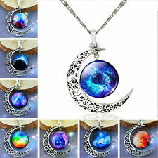 Women Galactic Glass Cabochon Silver Tone Hollow Moon Crescent Pendant Necklace