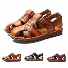 Mens Faux Leather Non-slip Closed Toe Roman Beach Sandals Driving Flats Shoes L