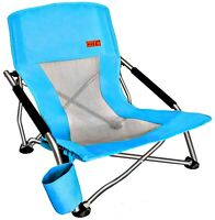 Folding Beach Chair With Cup Holder Portable Camping Ultralight Compact - Blue