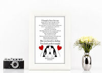 Personalised penguin Ed Sheeran Perfect lyric a4 print valentines day white gift