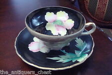Unmarked footed cup and saucer made in Japan, black with pink flowers[a*5-b2]