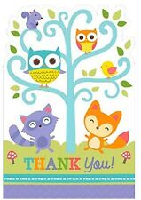 Woodland Welcome Animal Critter Cute Baby Shower Party Thank You Notes Cards