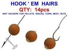 HOOK EM HAIRS 14pcs CARP FISHING HAIR RIG BOILIE PELLET CORN MEAT BAIT HOLDERS