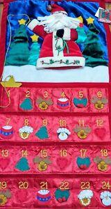 "Vintage Advent Christmas Countdown Calendar Hanging Santa Star Dan Dee 27"" X 14"""