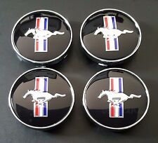FORD MUSTANG COBRA GT WHEEL RUNNING HORSE HUB CENTER CAPS 60MM BLACK 4pcs Set
