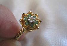 Sterling Silver JEX 925 Vermeil (gold over) 6 Emerald Flower w/Diamond Ctr, sz 8