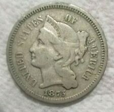 1875 United States Nickel Three Cents Copper Nickel Coin