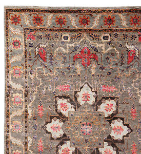 """Old Hand Knotted Parsian Neutral Heriz Serapi 5'7"""" x 7'10"""" Silk & Wool Area Rugs"""