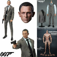 "1/6 Scale James Bond 007 Agent Head Sculpt+Clothes Set+Body Figure F12"" Hot Toys"