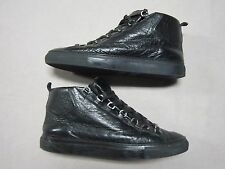 BALENCIAGA ARENA MENS SHINY EFFECT ALL BLACK HIGH TOP SNEAKERS SHOES SIZE 11.5