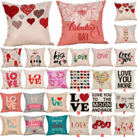 Happy Valentine's Day Cotton Throw Pillow Case Square Sofa Waist Cushion Cover
