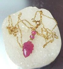 NATURAL FACETED GEM PINK CARVED SAPPHIRE LEAF 14K GOLD PENDANT CHAIN NECKLACE