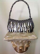 Mother Of Pearl Evening Purse Black Satin Beaded Designer Stylish Fashion Club