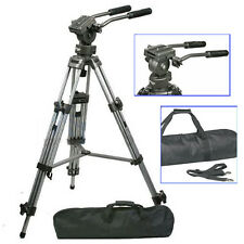 Professional Heavy Duty Tripod&65mm Fluid Video Pan Head 1/4″ for DV DSLR Camera