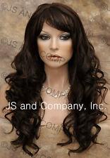 HUMAN HAIR Blend Long Wavy Dark Brown Wig Heat Safe WBCR 4
