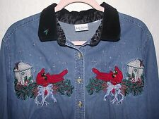 Christmas Holiday Black Collared LS Denim Shirt Women's Large ? Cardinal Bow L
